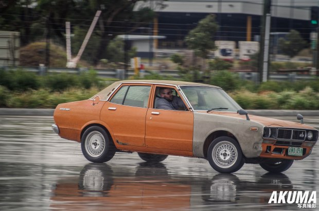 This Datsun was having fun on the skid pan during motorkhana!